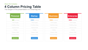 4 Column Pricing Table Template for PowerPoint and Keynote