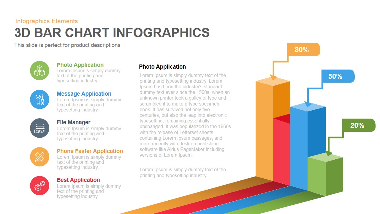 3D Bar Chart PowerPoint Template and Keynote Slide