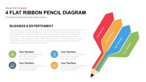 4 Flat Ribbon Pencil Diagram Templates for PowerPoint and Keynote