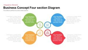 4 Section Business Concept Diagram for PowerPoint and Keynote