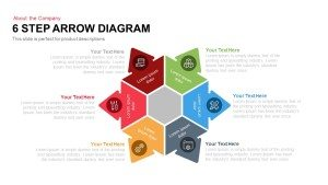 6 Step Arrow Diagram Powerpoint Template and Keynote Slide