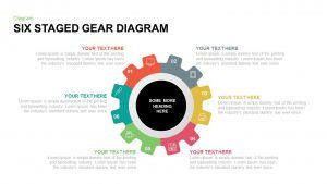 6 Staged Gear Diagram PowerPoint Template and Keynote