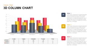 3D Column Chart for PowerPoint and Keynote Presentation