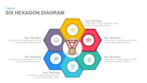 Six Hexagon Diagram Powerpoint and Keynote template