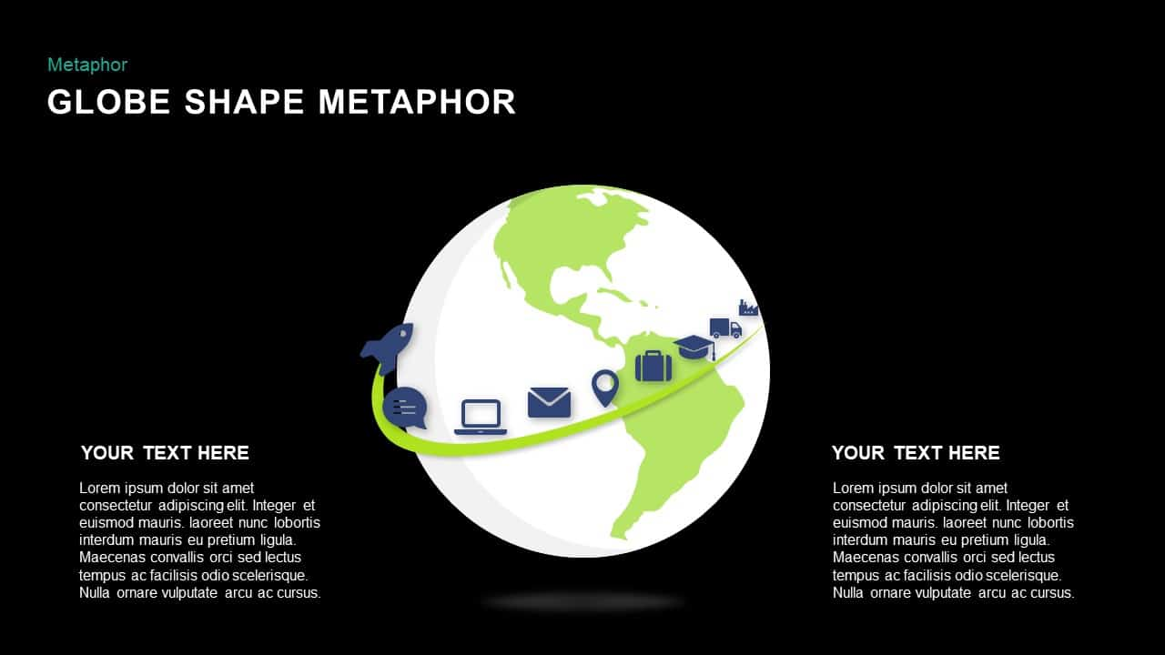 Metaphor Globe Shape Template for PowerPoint Presentation