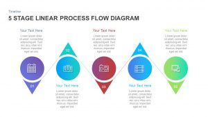5 Stage Linear Process Flow Diagram Template for PowerPoint and Keynote