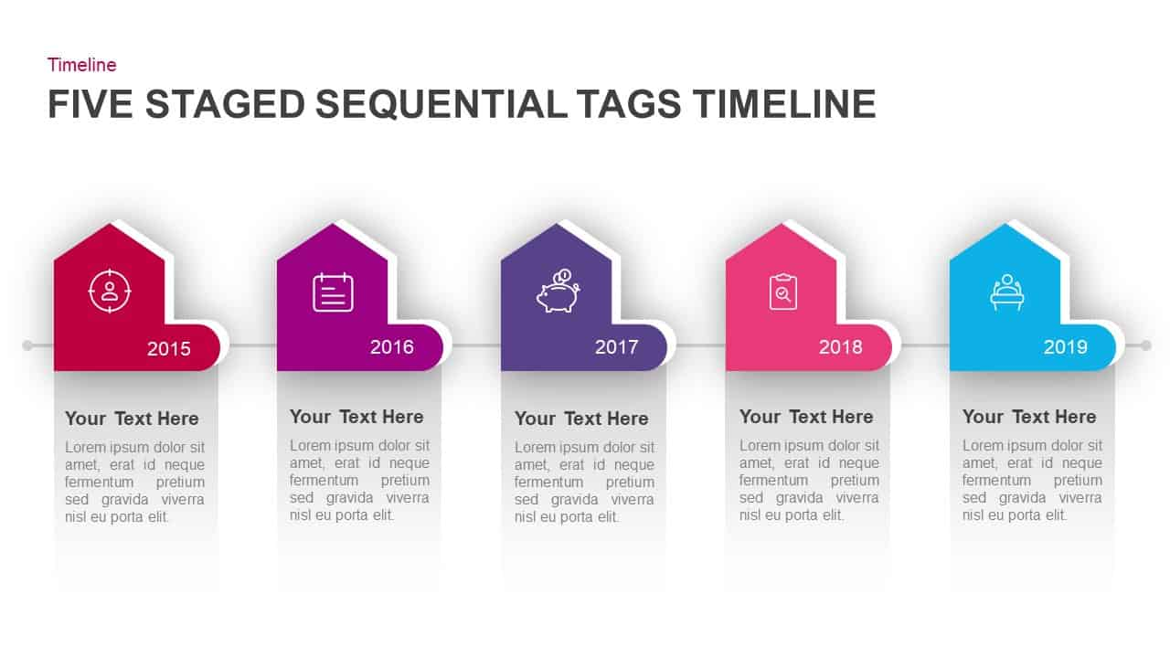 5 Staged Sequential Tags Timeline PowerPoint Template