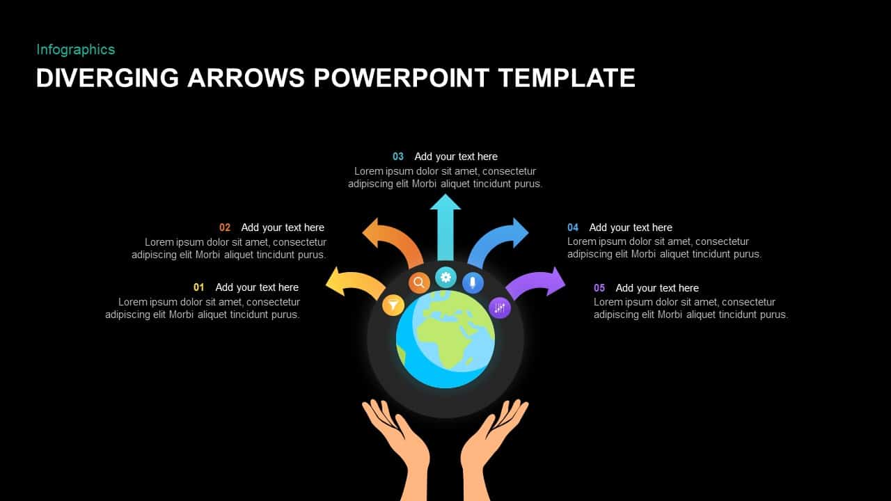 Diverging arrows template for PowerPoint